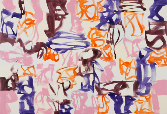 Melissa Meyer,   Walk the Line , 2011, Oil on canvas, 52 x 76 inches