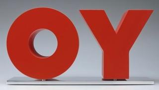 Deborah Kass,  OY/YO,  2013, painted aluminum on polished aluminum base, 10 1/2 x 20 x 6 inches