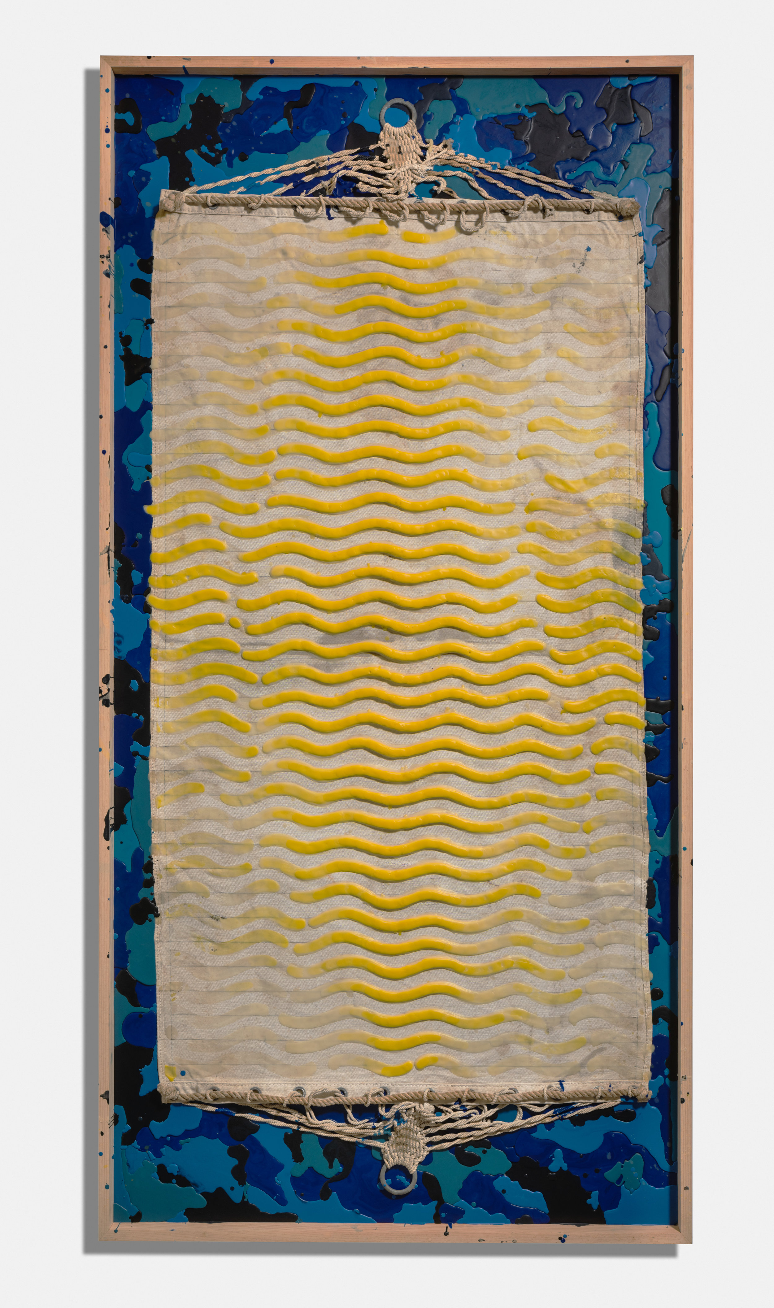 Paradis Island , 2015, encaustic and hammock on panel, 96 x 48 x 4 1/2 inches