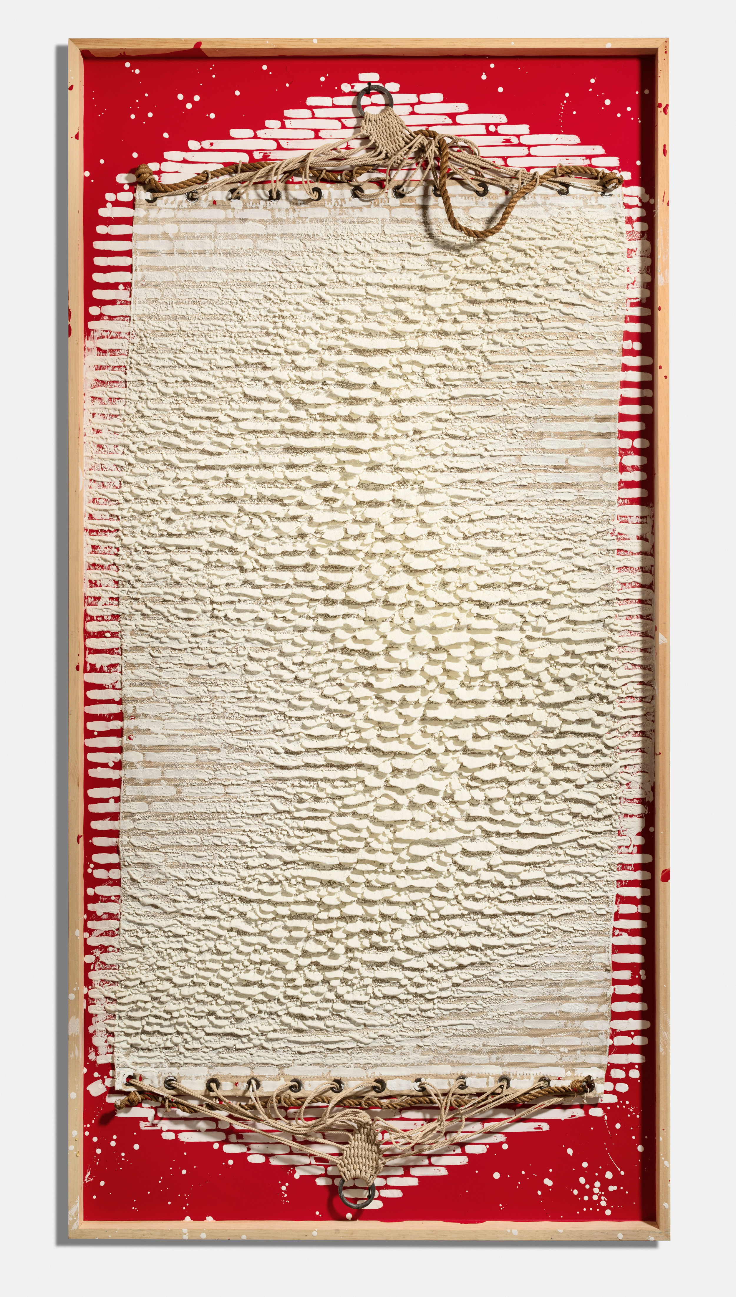 White Flag , 2016, encaustic and hammock on panel, 96 x 48 x 4 1/2 inches