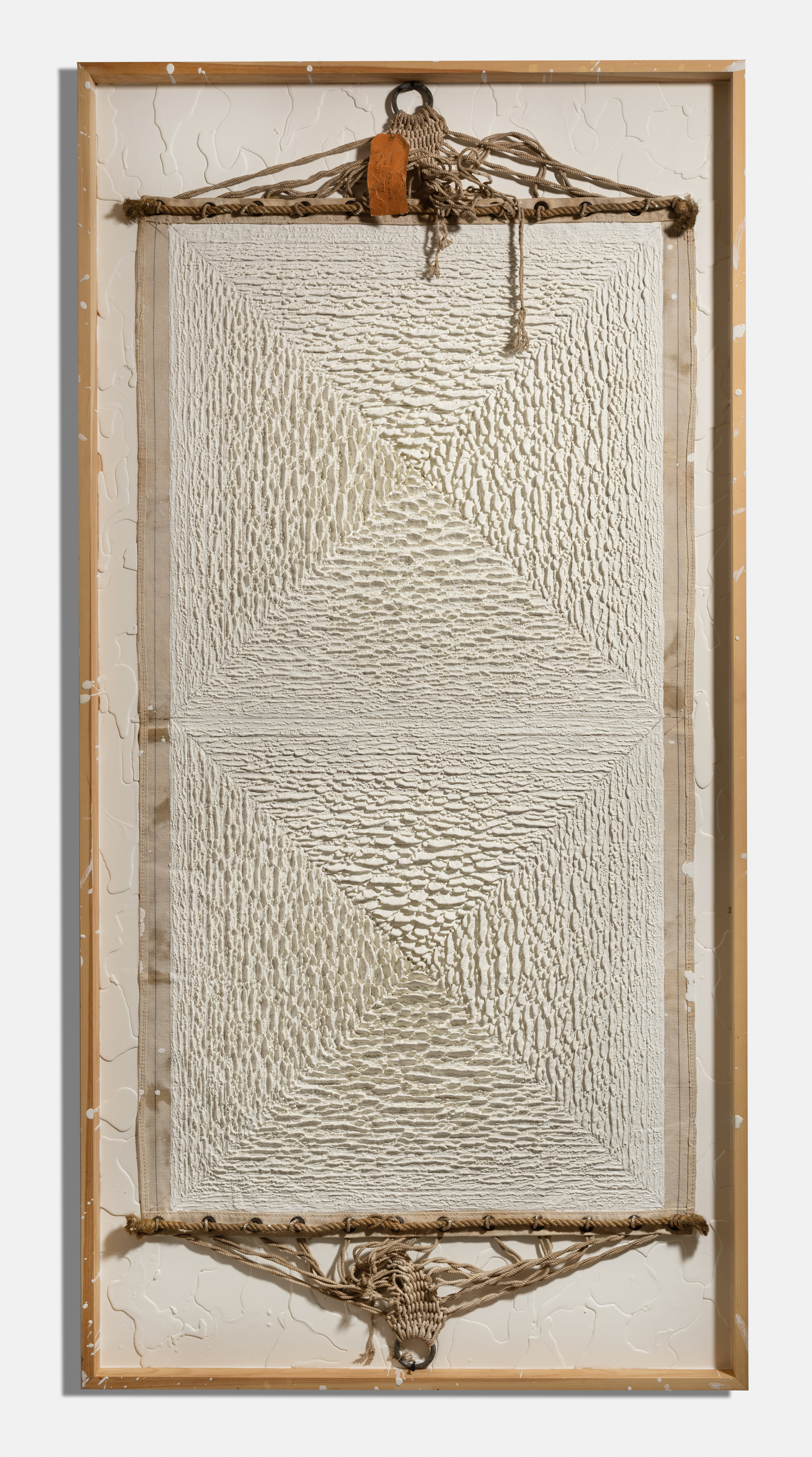 Banner , 2017, encaustic and hammock on panel, 96 x 48 x 4 1/2 inches