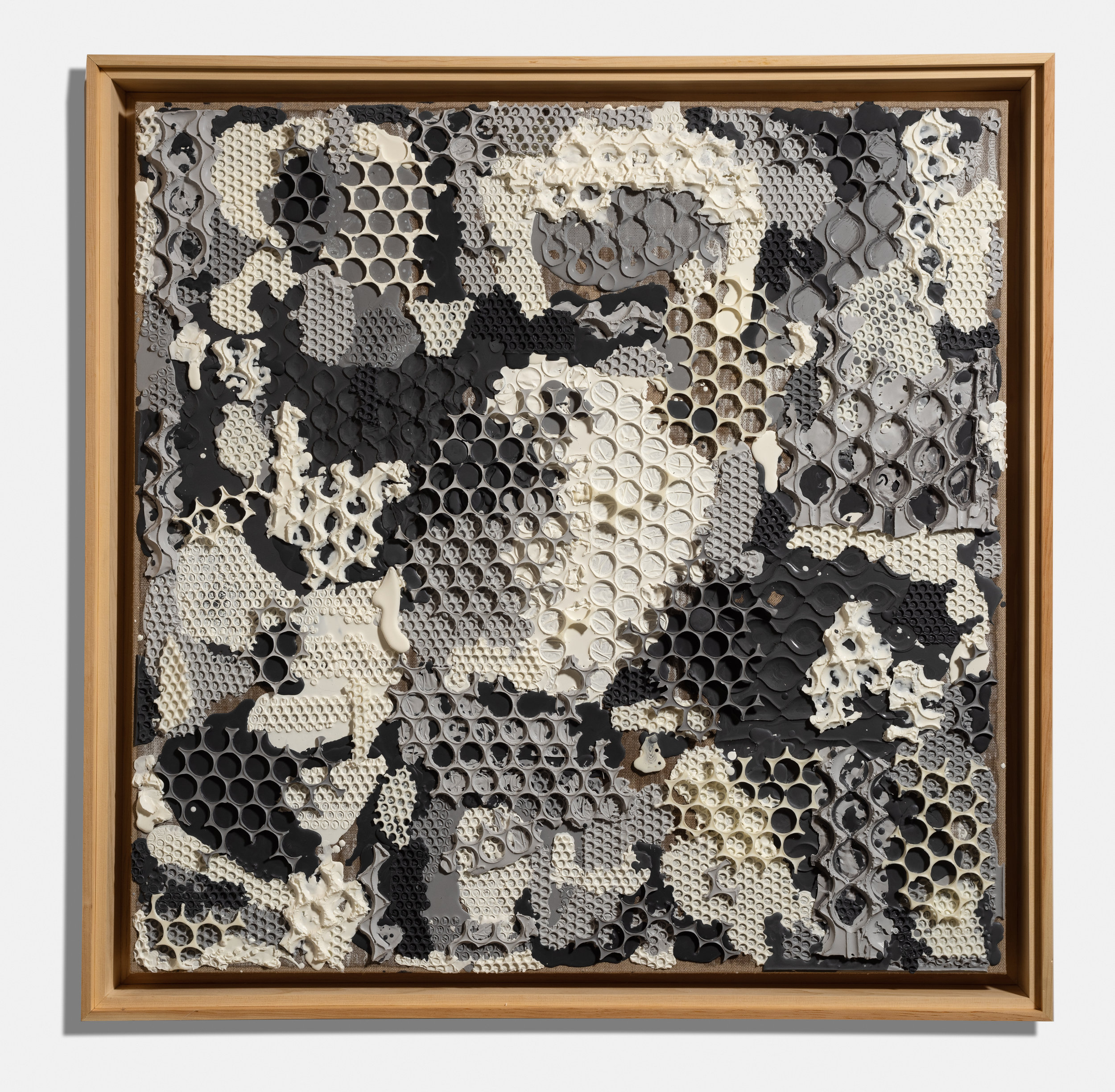 Patchwork Grey , 2015, encaustic on linen, 40 x 40 x 3 inches