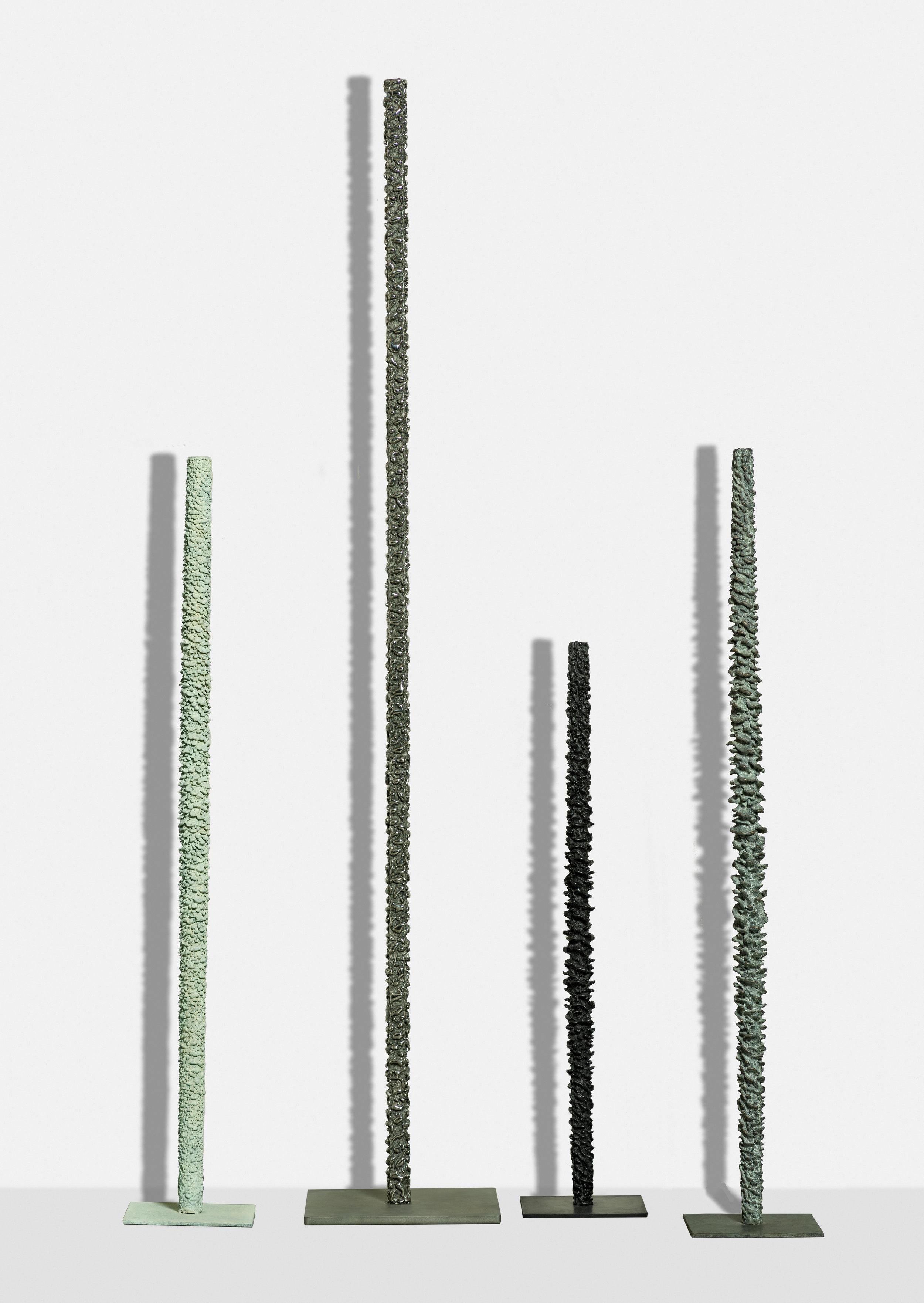 White Totem (I),  2017, bronze (unique cast), 36 x 7 7/8 x 7 7/8 inches   Stainless Totem ,   2017, bronze (unique cast), 71 1/2 x 12 1/8 x 12 1/8 inches   Black Spiral,  2017, bronze (unique cast), 36 x 7 3/4 x 7 3/4inches   Grey Spiral , 2017, bronze (unique cast), 48 x 7 7/8 x 7 7/8 inches