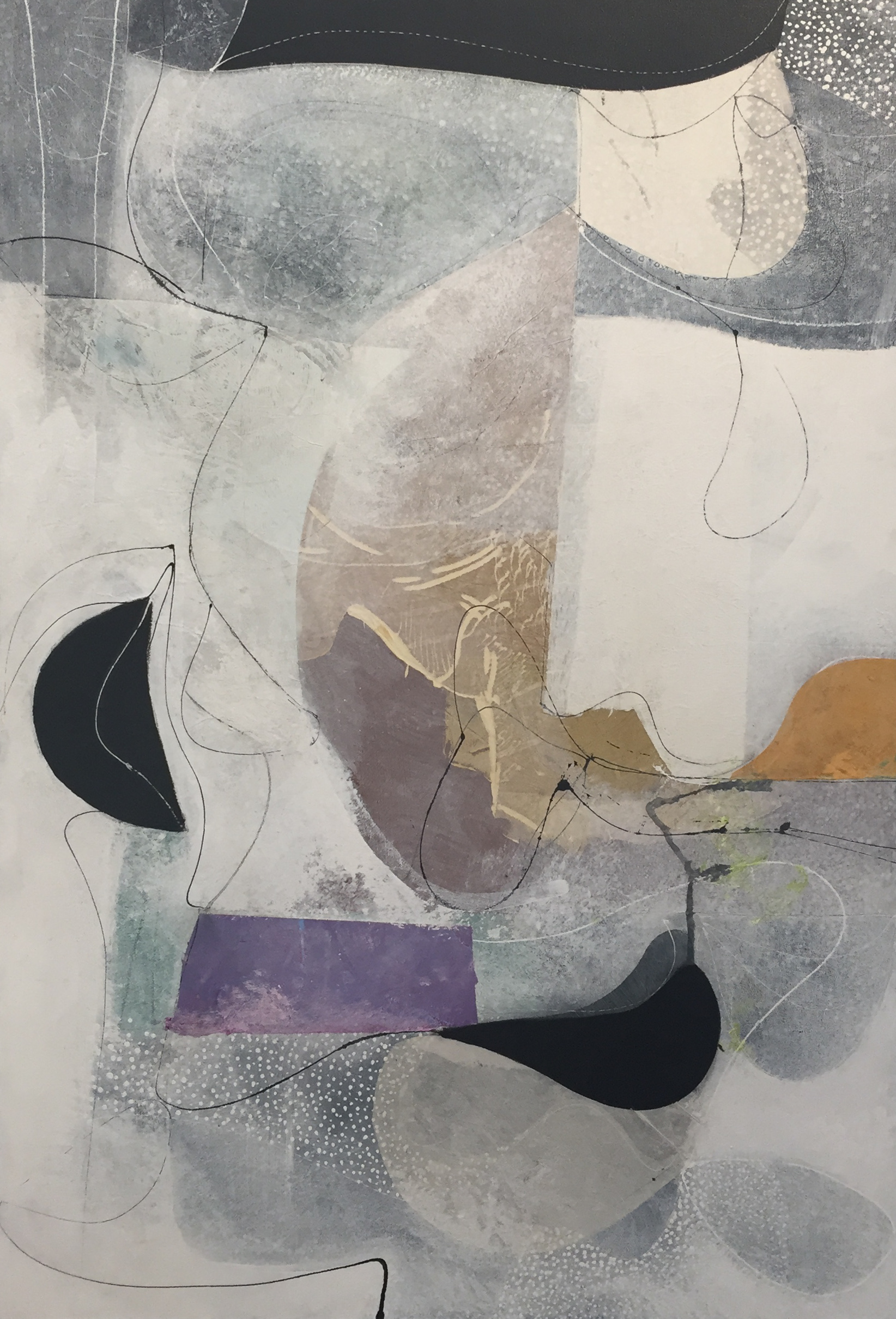 Charlie Hewitt , Silver Ghost,  2018, acrylic and paper collage on canvas on panel, 44 3/4 x 30 1/2 inches