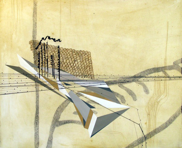 Sarah Amos,  Yellow Scape , 2007, Collagraph, 40 x 50 inches