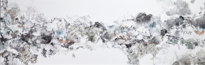 Simona Prives,  Aftershock,  Ink, monotype, watercolor, collage on paper, 24 x 75 inches