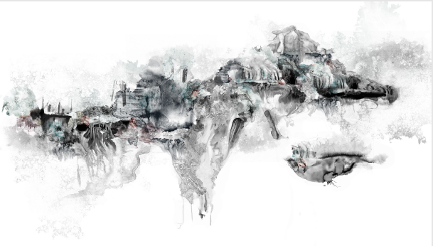 Simona Prives,  Black Matter I,  Ink, monotype, watercolor, collage on paper, 44 x 70 inches