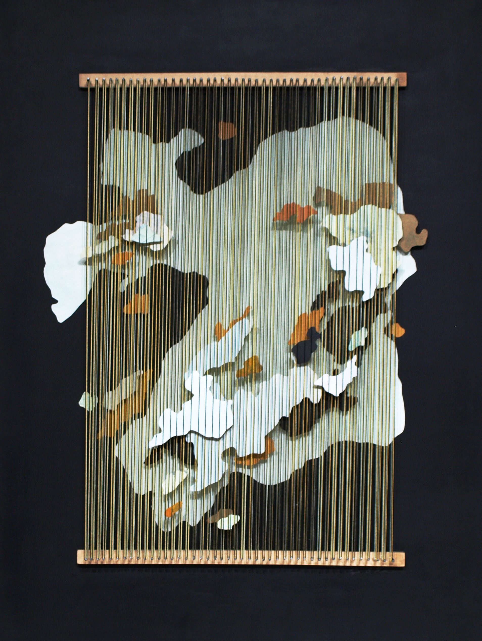 Tegan Brozyna Roberts,  Coptic I,  2018, Painted paper, thread, nails and wood, 24 1/2 x 18 3/4 inches