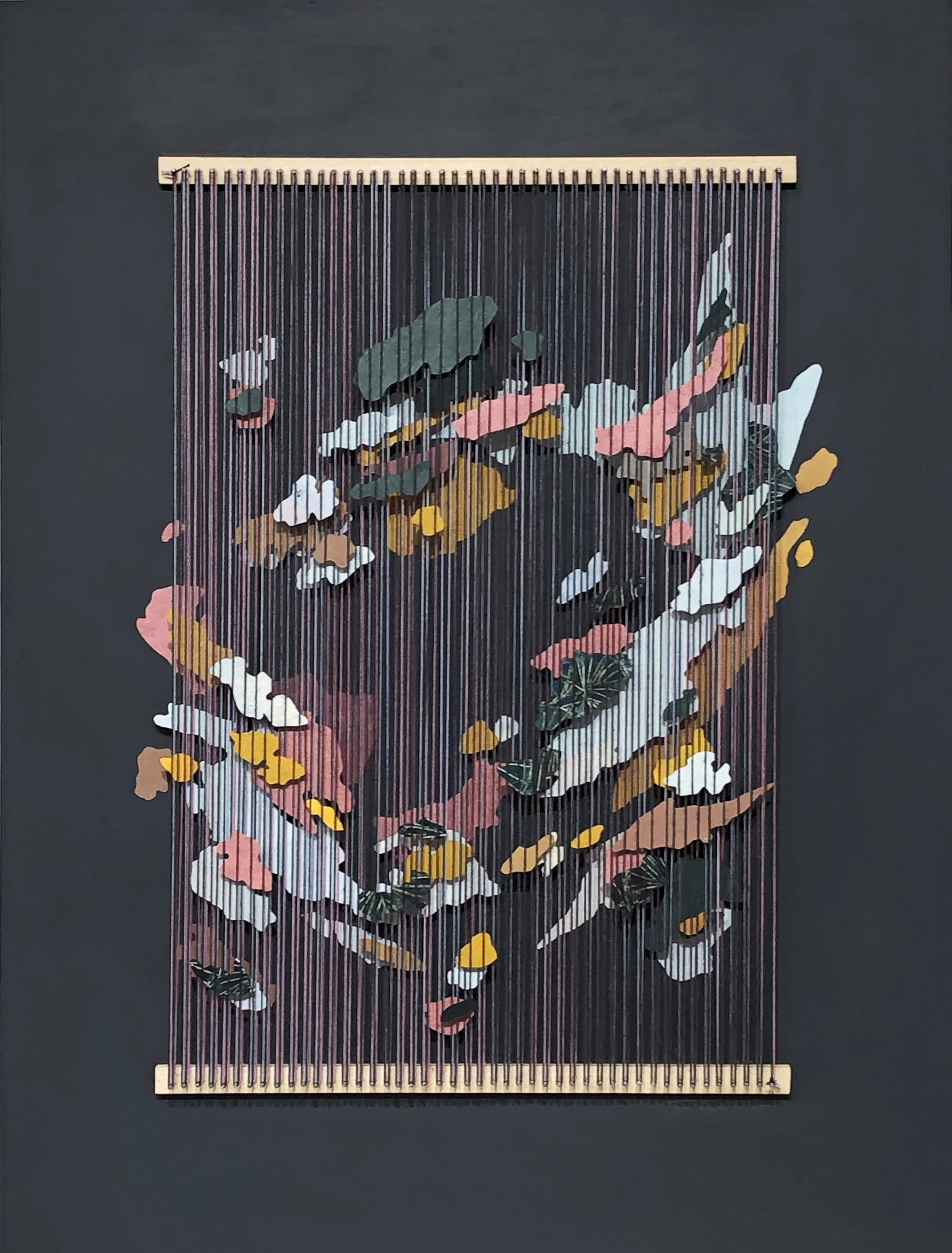 Tegan Brozyna Roberts,  Blönduós V , 2019, Painted paper, thread, nails and wood, 24 1/2 x 18 3/4 inches