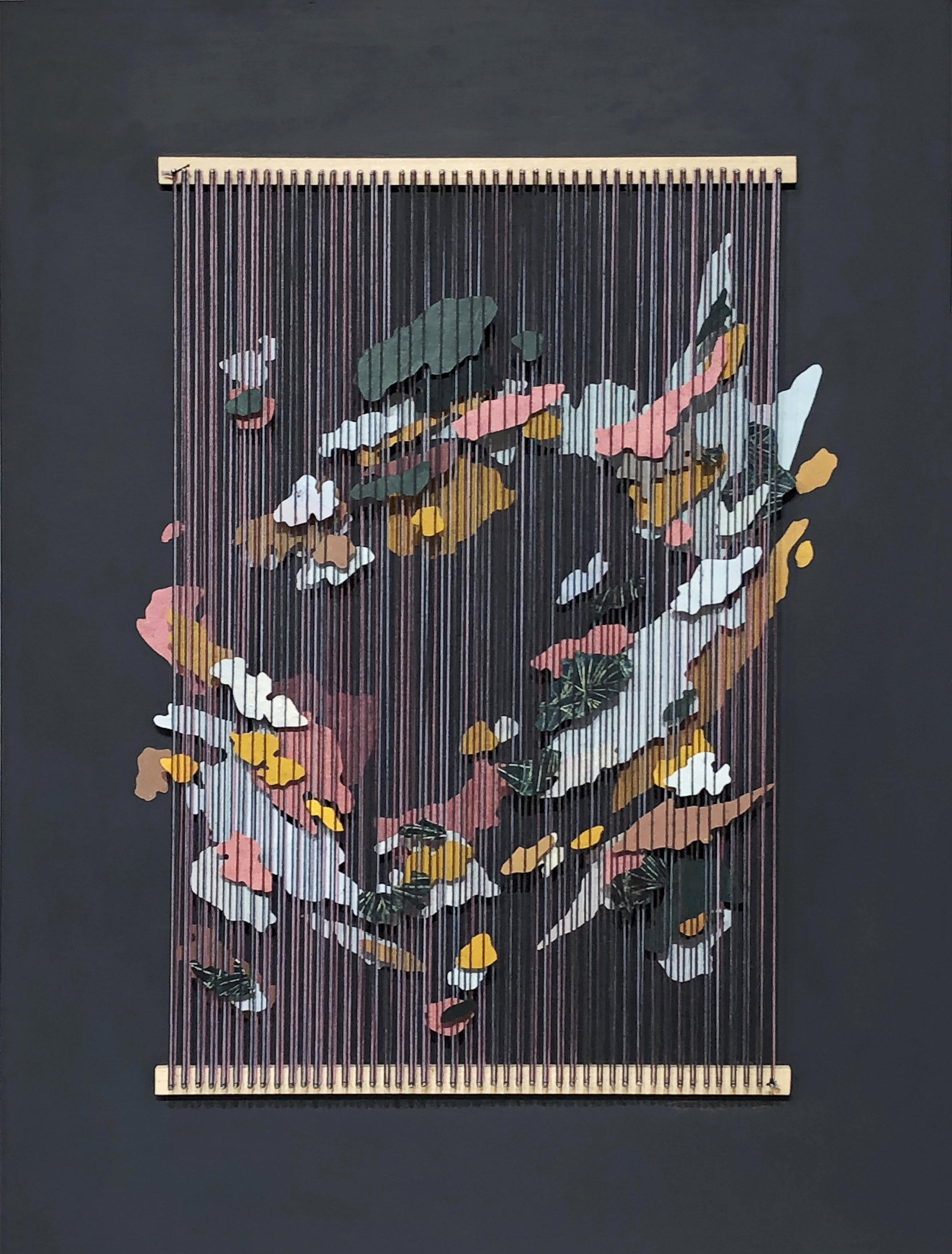 Tegan Brozyna Roberts,  Blönduós V , 2019, Painted paper, thread, nails and wood, 24 1/2 x 18 3/4 inches