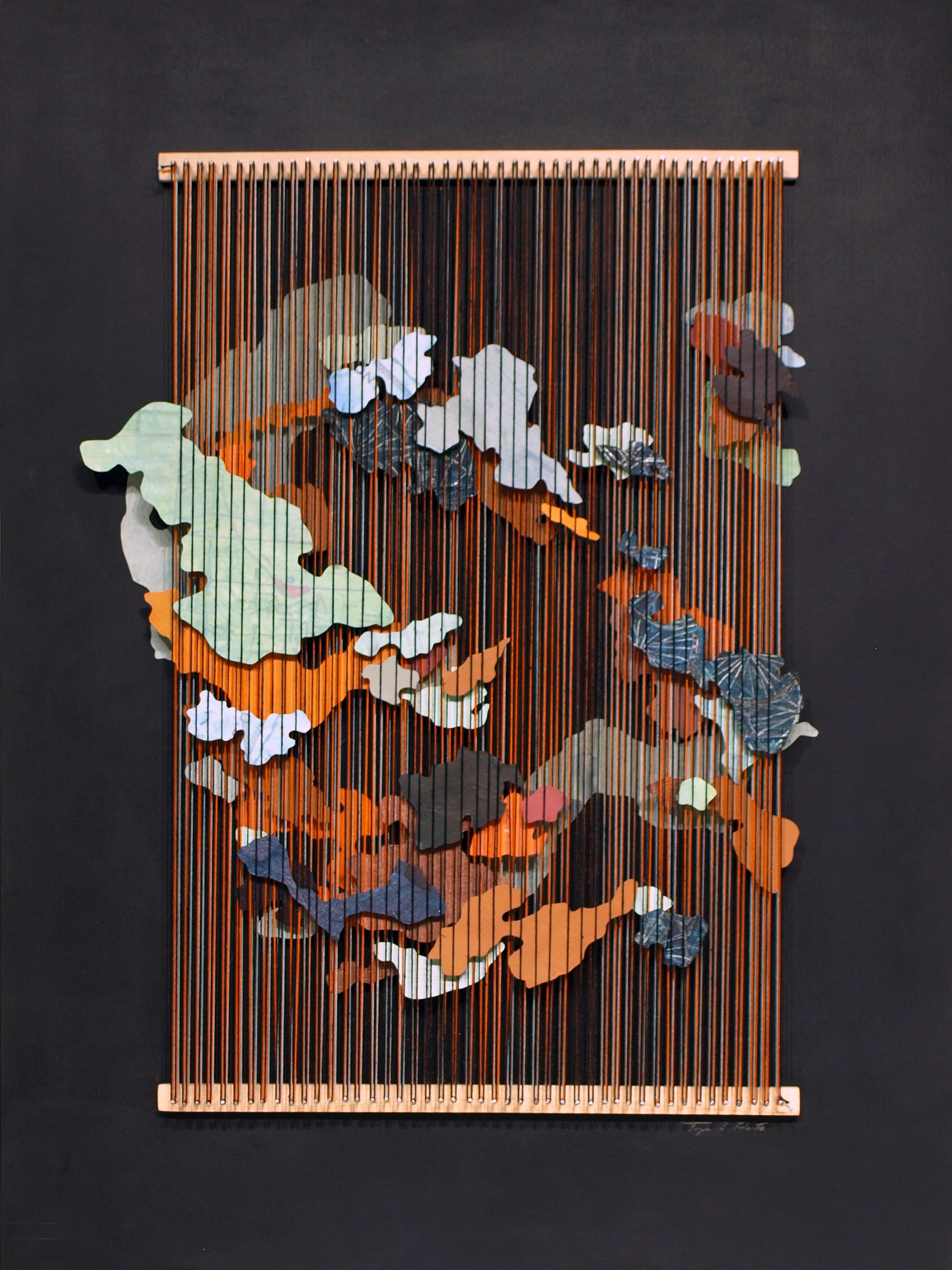 Tegan Brozyna Roberts,  Post,  2018, Painted paper, thread, nails and wood, 24 1/2 x 18 3/4 inches