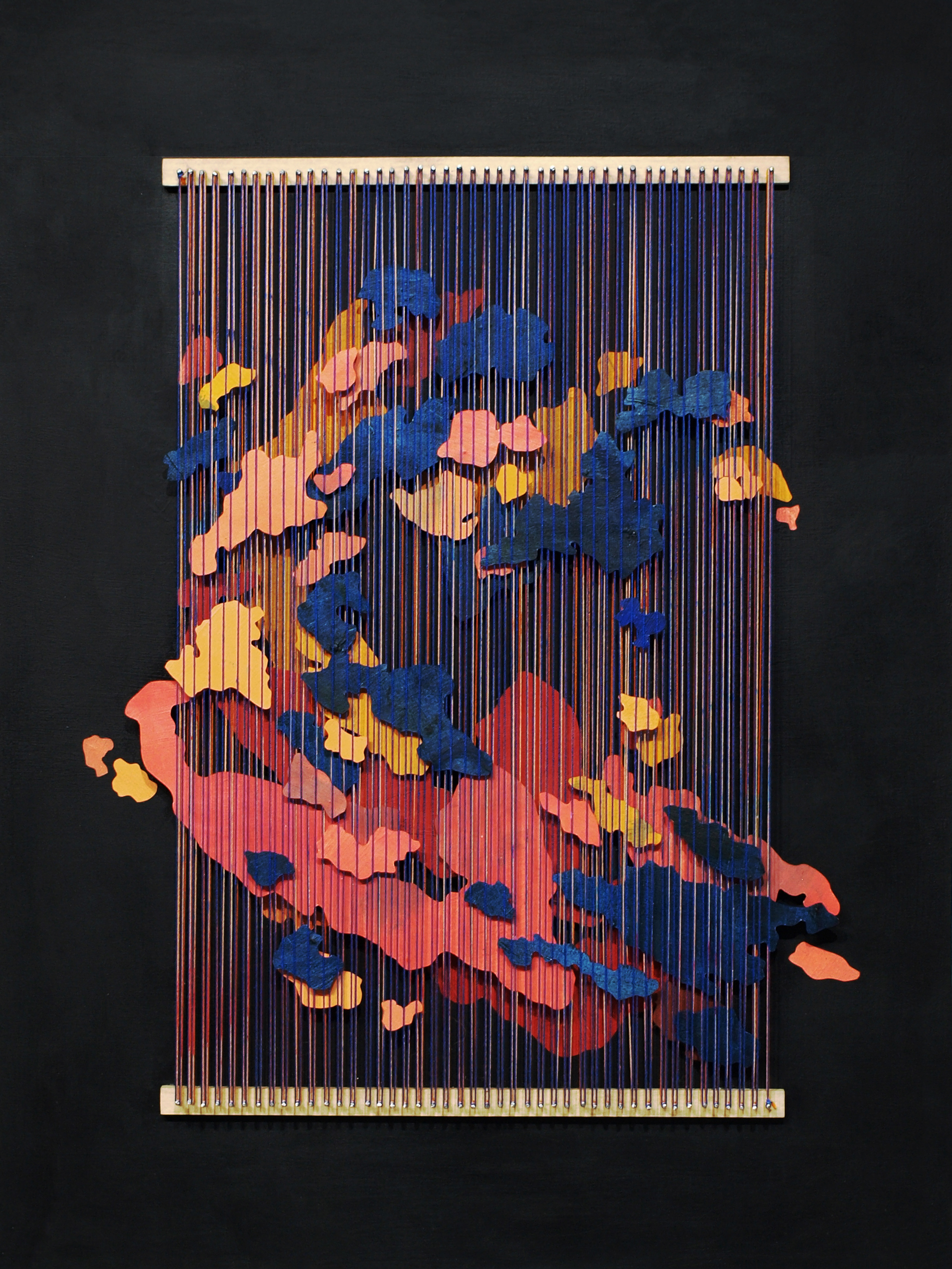 Tegan Brozyna Roberts,  Van Brunt , 2019, Painted paper, thread, nails and wood, 24 1/2 x 18 3/4 inches