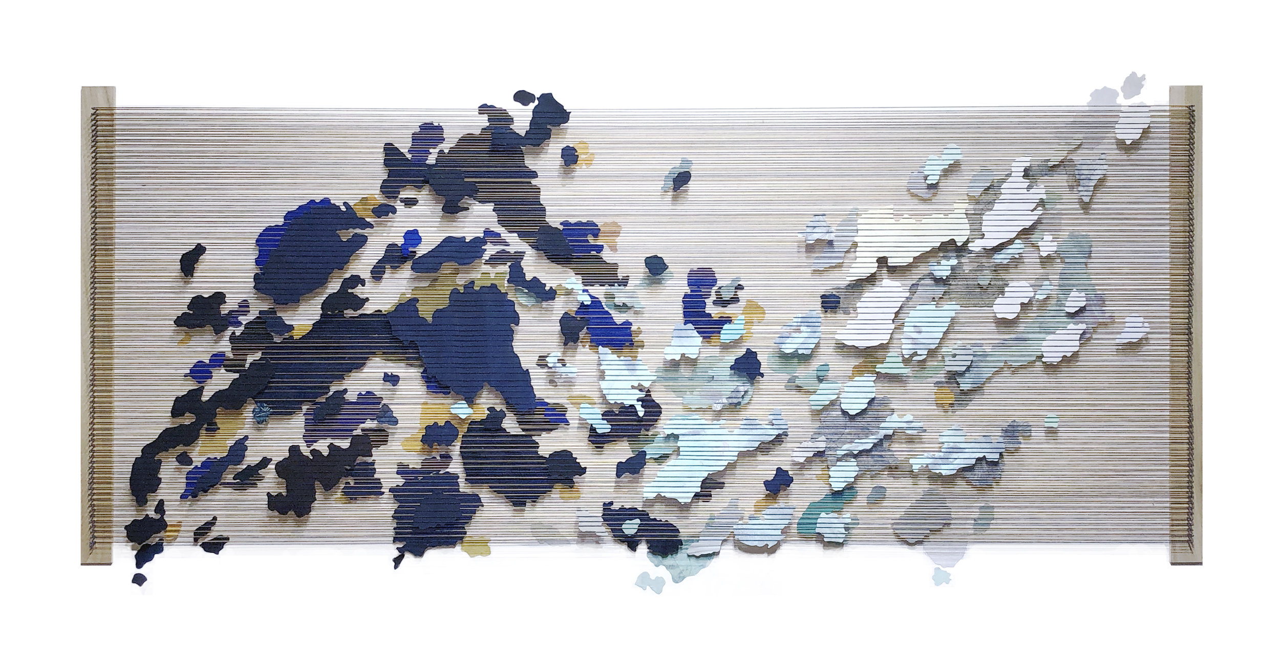 Tegan Brozyna Roberts,  Remnants VI,  2019, Painted paper, thread, nails and wood, 31 x 61 inches