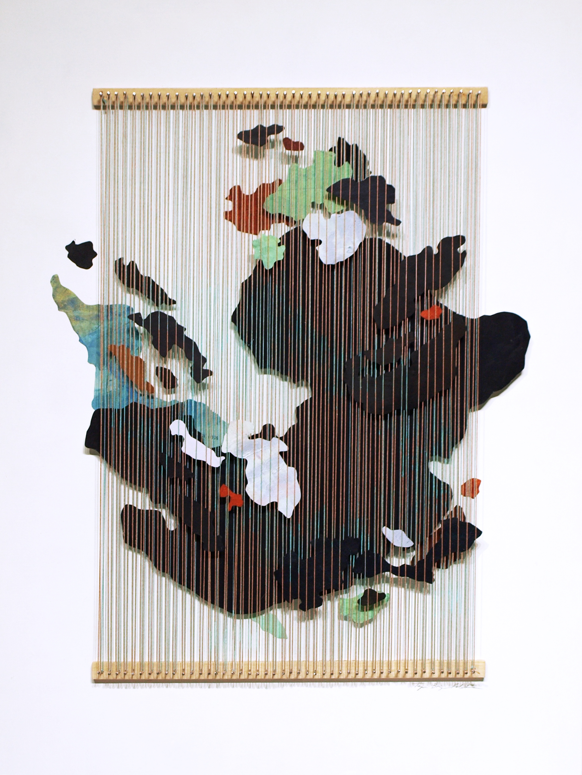 Tegan Brozyna Roberts,  Third , 2018, Painted paper, thread, nails and wood, 24 1/2 x 18 3/4 inches