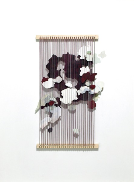 Flatbush III , 2018, painted paper, thread and nails on cradled wood panel, 25 x 19 inches frame