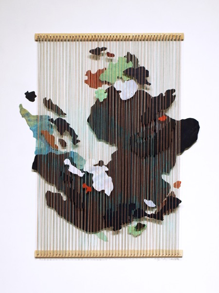 Third , 2018, painted paper, thread, nails and wood, 24 1/2 x 18 3/4 inches frame