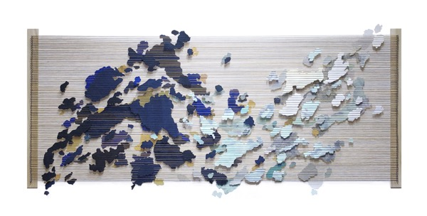 Remnants VI , 2019, painted paper, thread, nails and wood, 31 x 61 inches frame