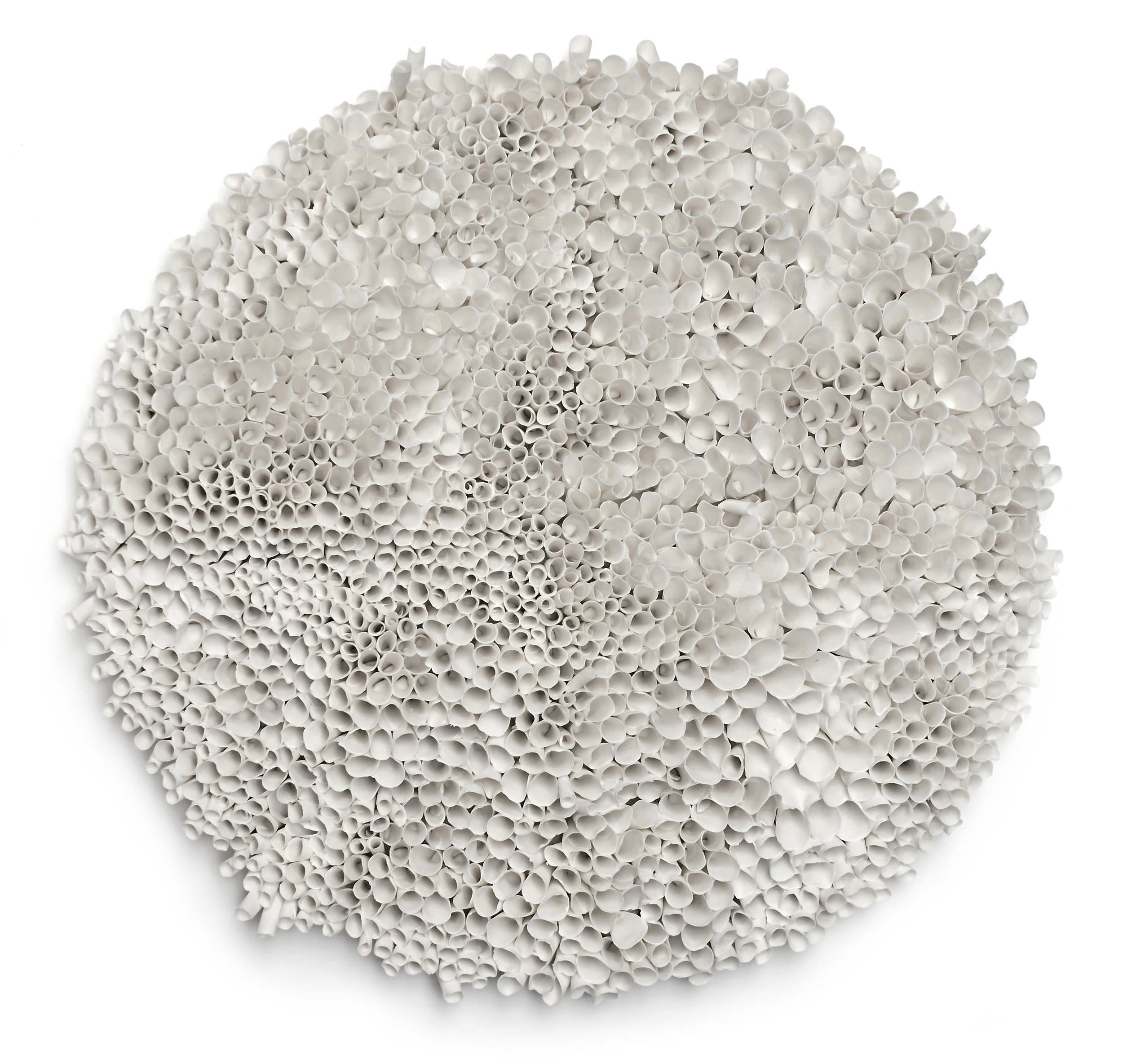 Coral Circle White , 2019, Porcelain, 19 1/2 x 19 1/2 inches