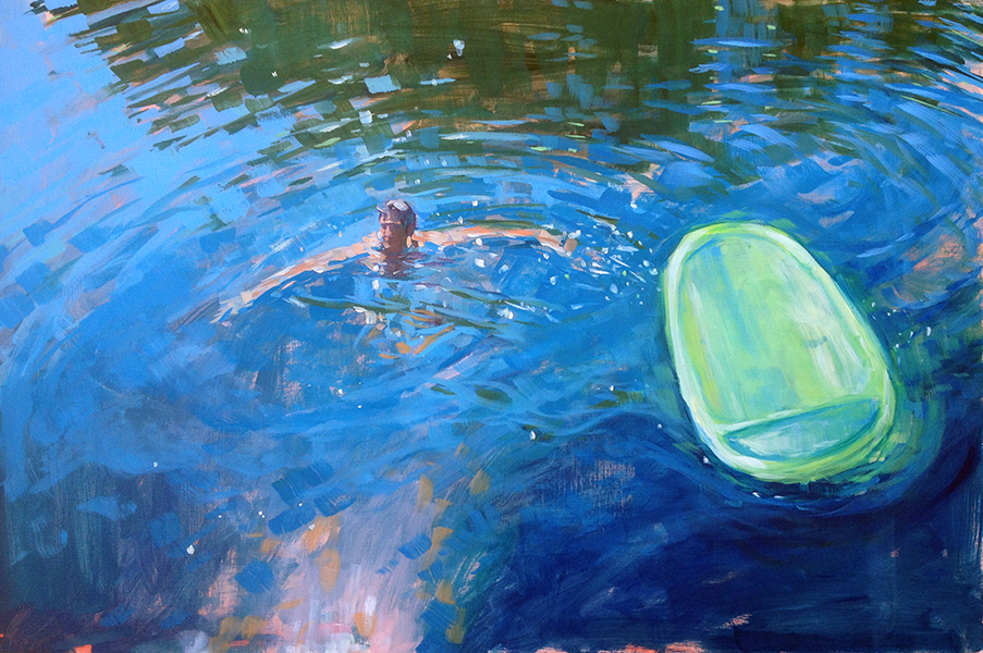 "Floating  is a brand new 20"" x 30"" oil on panel."