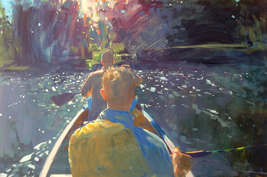 """Into The Light , 20"""" x 30"""" oil on panel"""