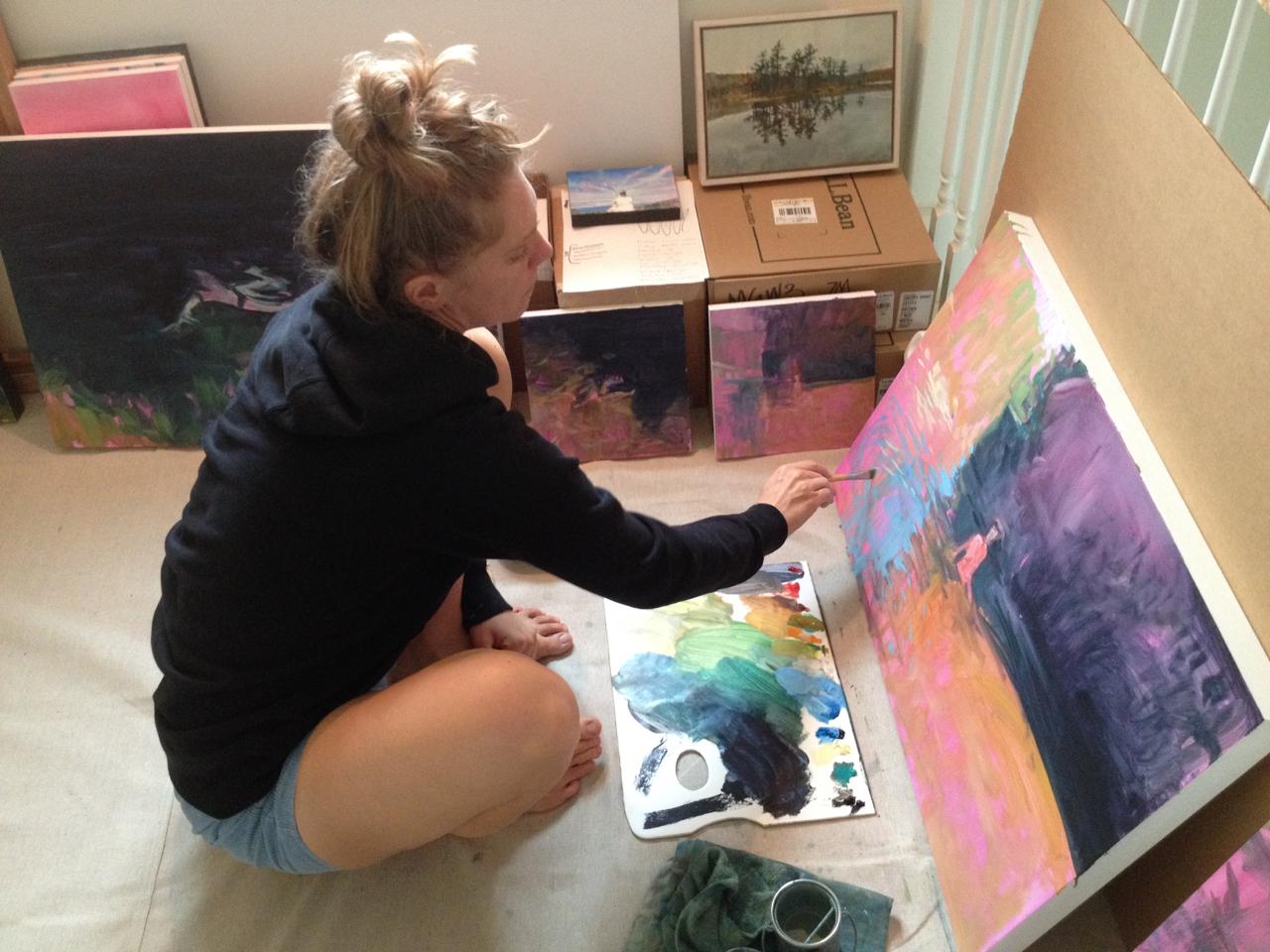 Working on the floor in the studio