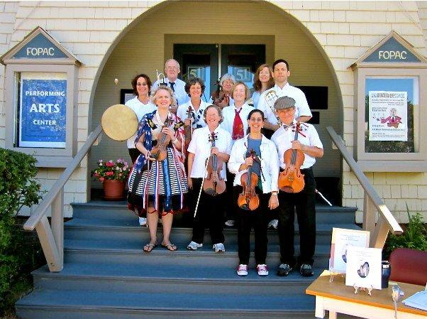 Concord Orchestra members prepare to march in Concord's 375th Birthday Parade!!