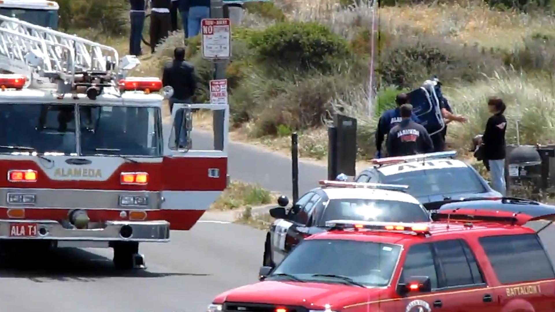 Firefighters responding on the scene