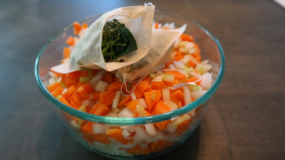 Prepared mirepoix and 2 bouquet garni for stock, soups, etc.