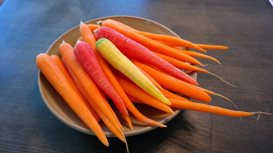 Peeled and rinsed the carrots.