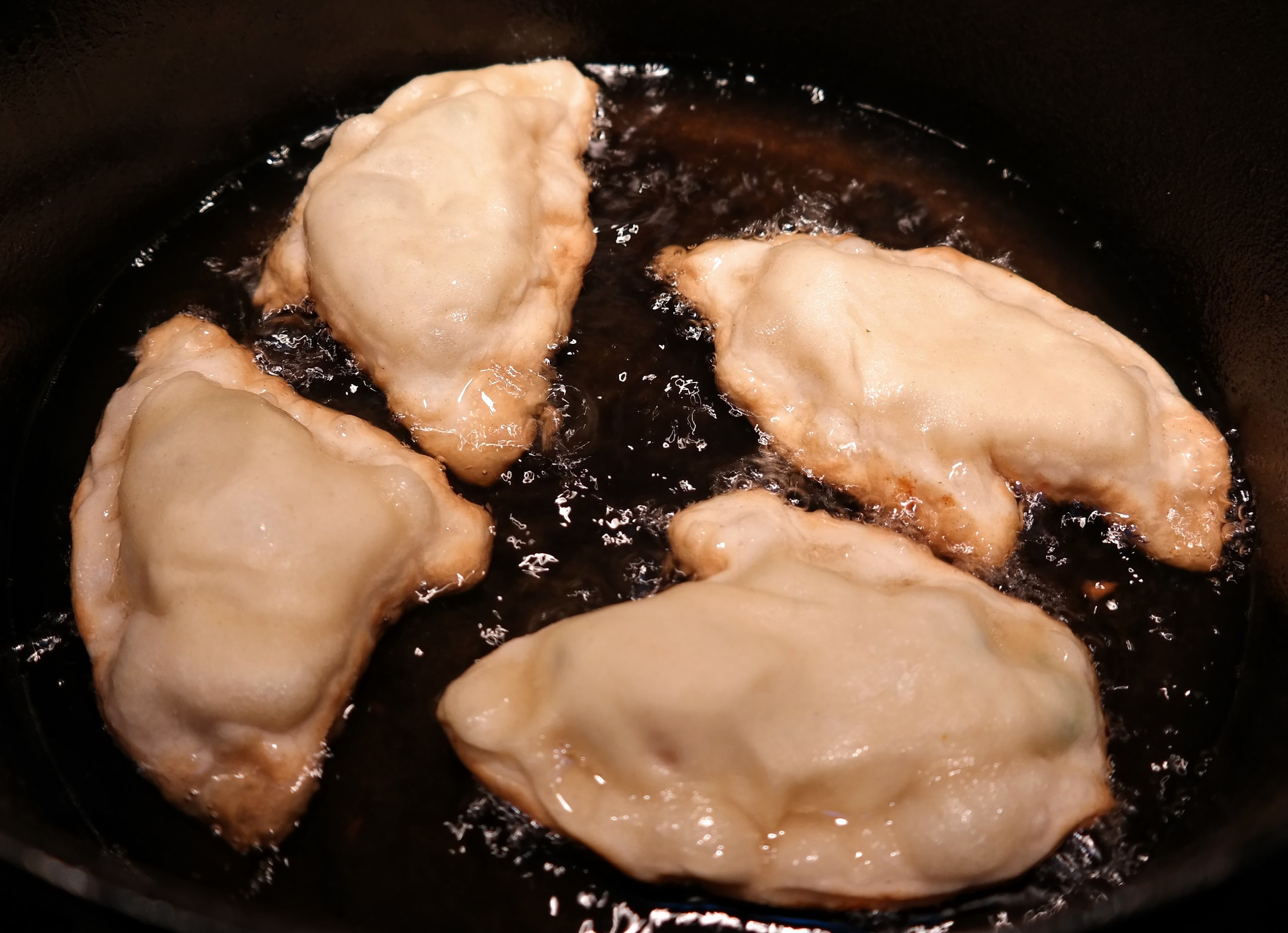 Avoid crowding the pot by frying in smaller batches (recipe makes about 24 total samosas)