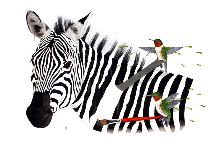 """Changing Stripes by Daniel Angeles,22"""" x 30"""" - SOLD"""