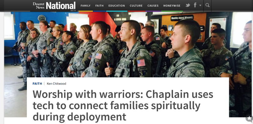 "My new front-page piece, ""Worship with warriors,"" for Deseret News National"