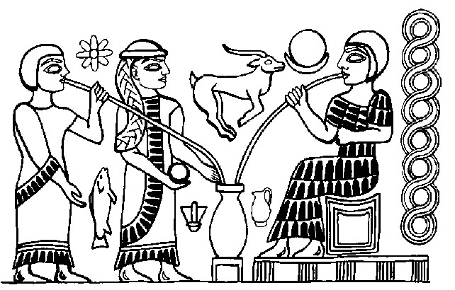 Ninkasi, Mesopotamian goddess of the brew (we won't hold it against her that she drinks her beer with a straw).