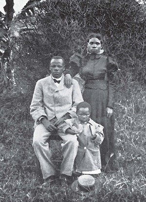 John Chilembwe with his wife, Ida, and daughter, Emma (ca. 1910-1914).