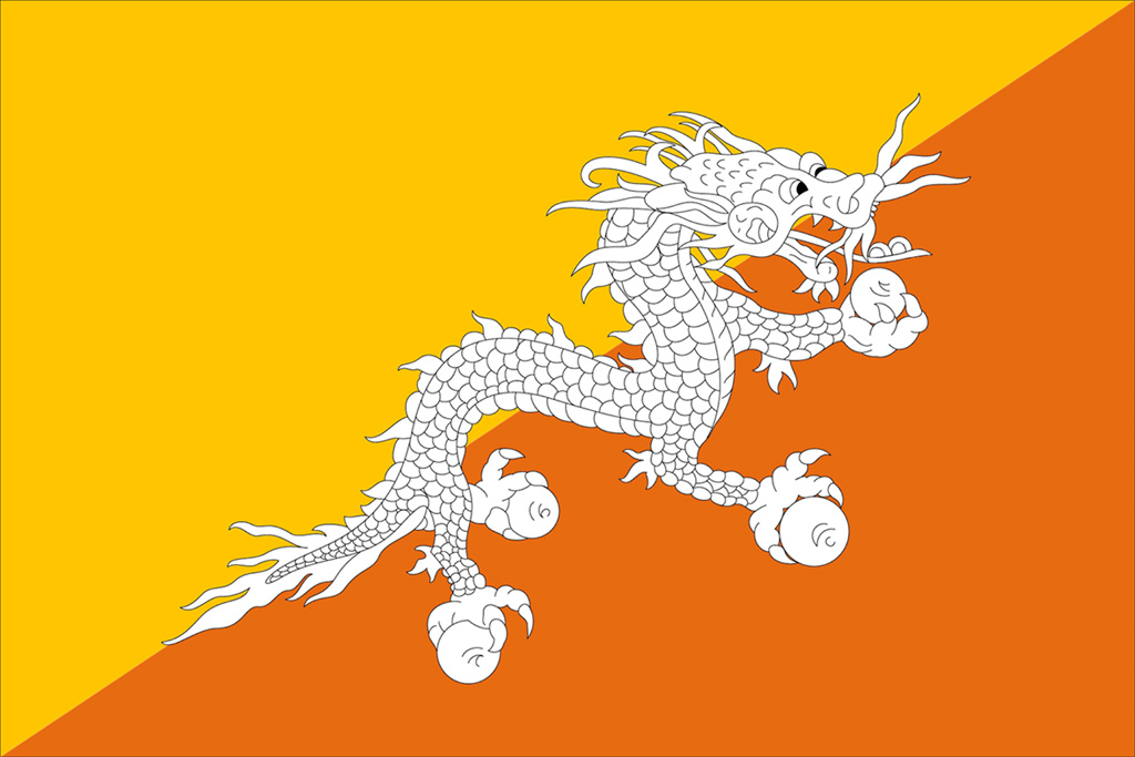 The flag of Bhutan draws from the Durkpa Tibetan Buddhist tradition and features Druk, the Thunder Dragon.  Druk, it is believed, divinely approved theestablishment of Bhutanese Buddhism with a clap of thunder.