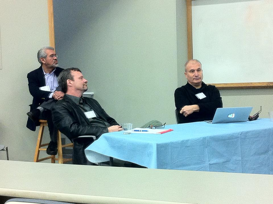 Dr. Manuel Vásquez, Dr. David Morgan, and Dr. Dragan Kujundzic listen as Dr. Sid Dobrin presents his angle on religion, interpretation, and the digital age.