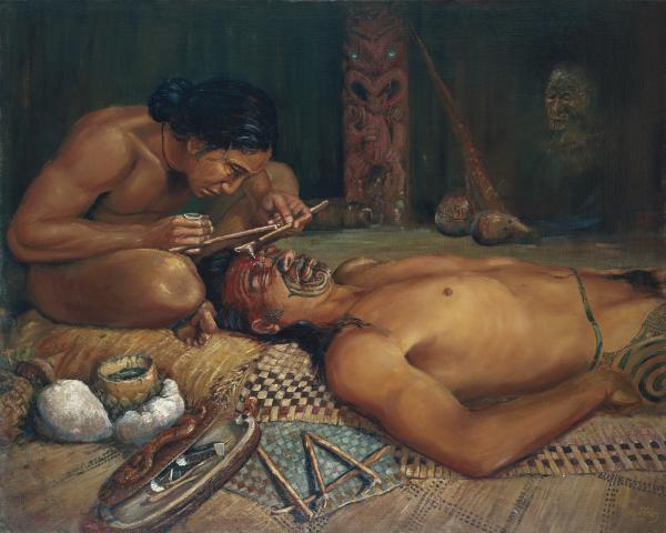 Uetonga tattooing his son-in-law Mataora in the under world.