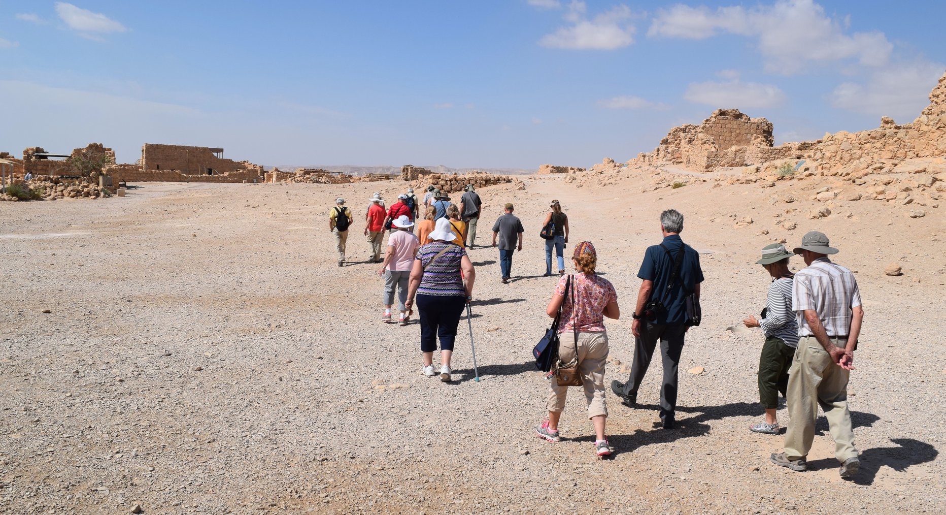 Pilgrims walk the well-trodden paths on the mountain top of Masada, near the Dead Sea. PHOTO: Ken Chitwood