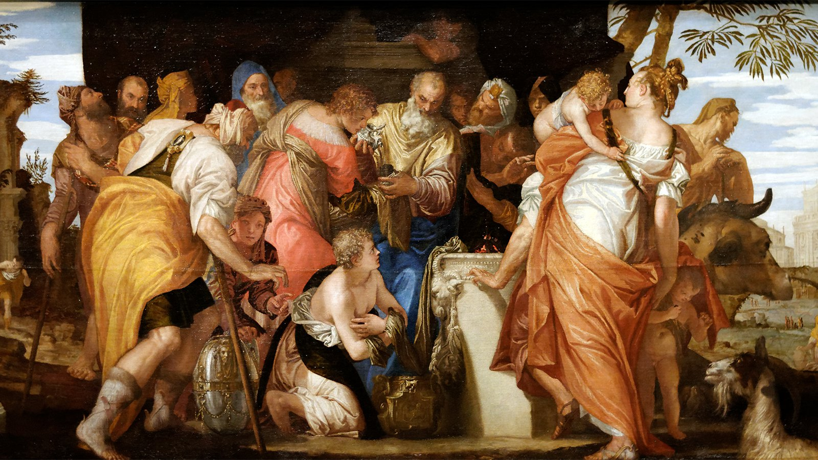 """""""The Anointment of David,"""" circa 1555, depicts the Old Testament scene when the young shepherd David is anointed by the prophet Samuel. Similar paintings have incorrectly been labeled as Saul anointing David. Image by Paolo Veronese/Creative Commons via RNS."""