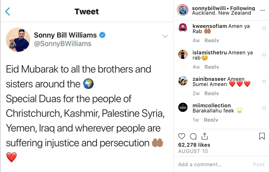 Sonny Bill Williams posts Eid greetings in the spirit of solidarity with fellow Muslims across the world (PHOTO: @SonnyBWilliams)