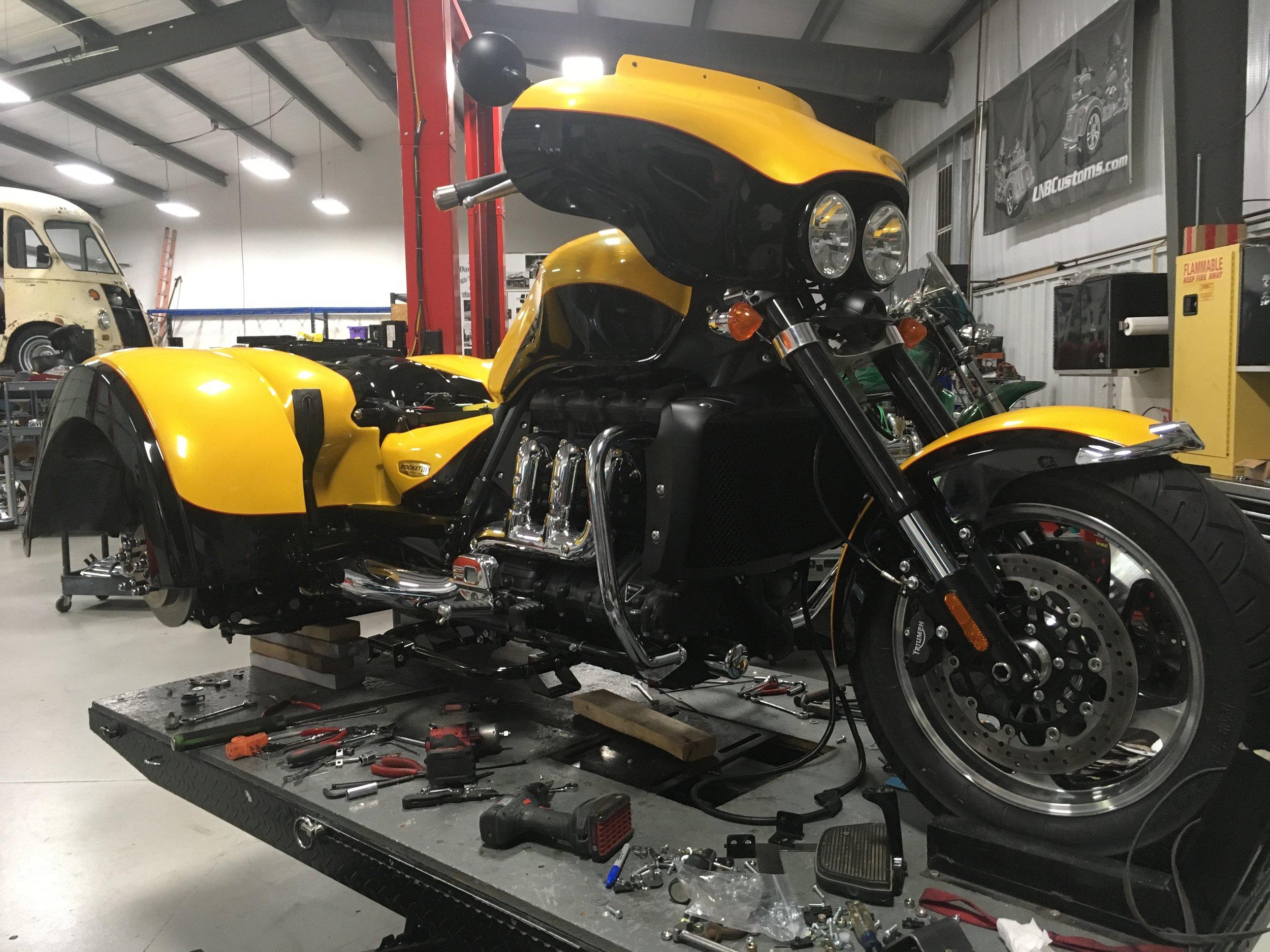 Triumph trike custom radio fairing installation.JPG