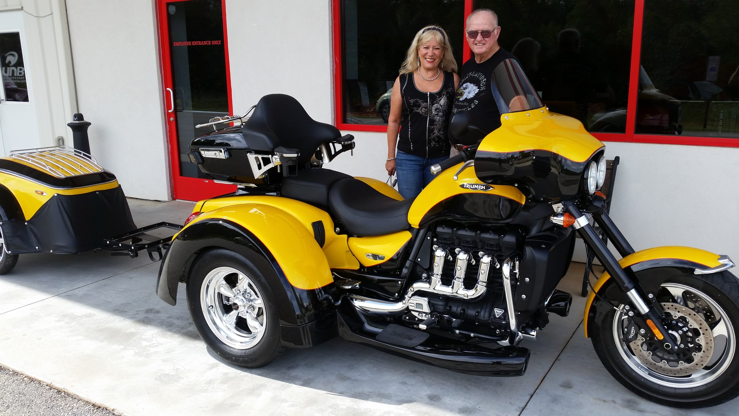 Larry and Iris with the completed Triumph Rocket III