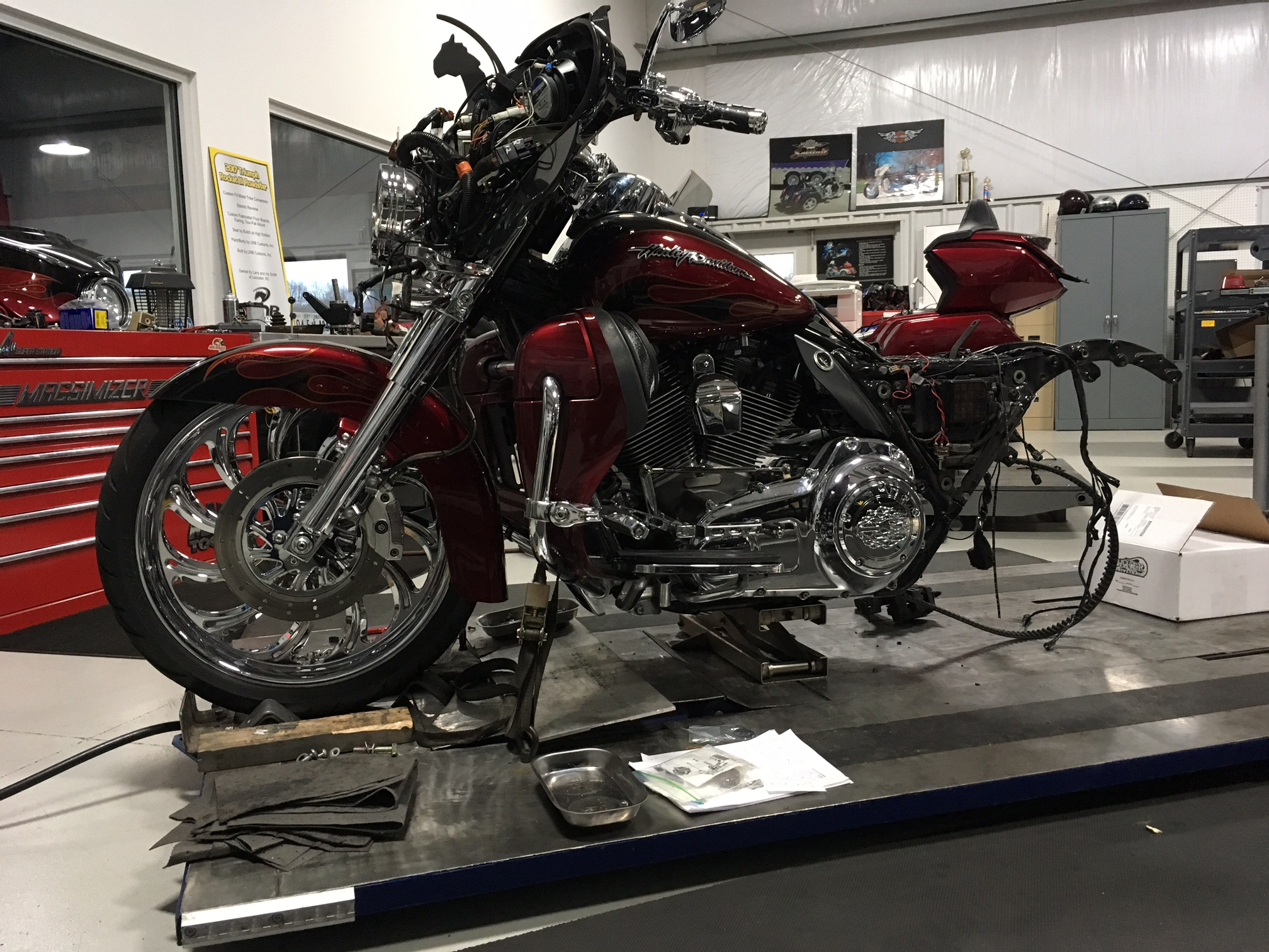 getting the harley ready for a trike kit