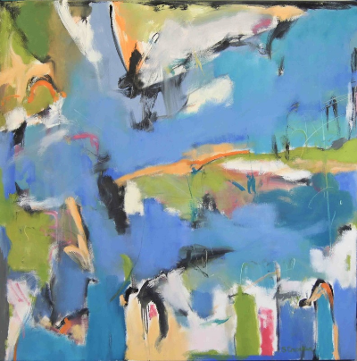 Suzanne Crocker,  Dancing Water , oil on canvas, 48 x 48 inches