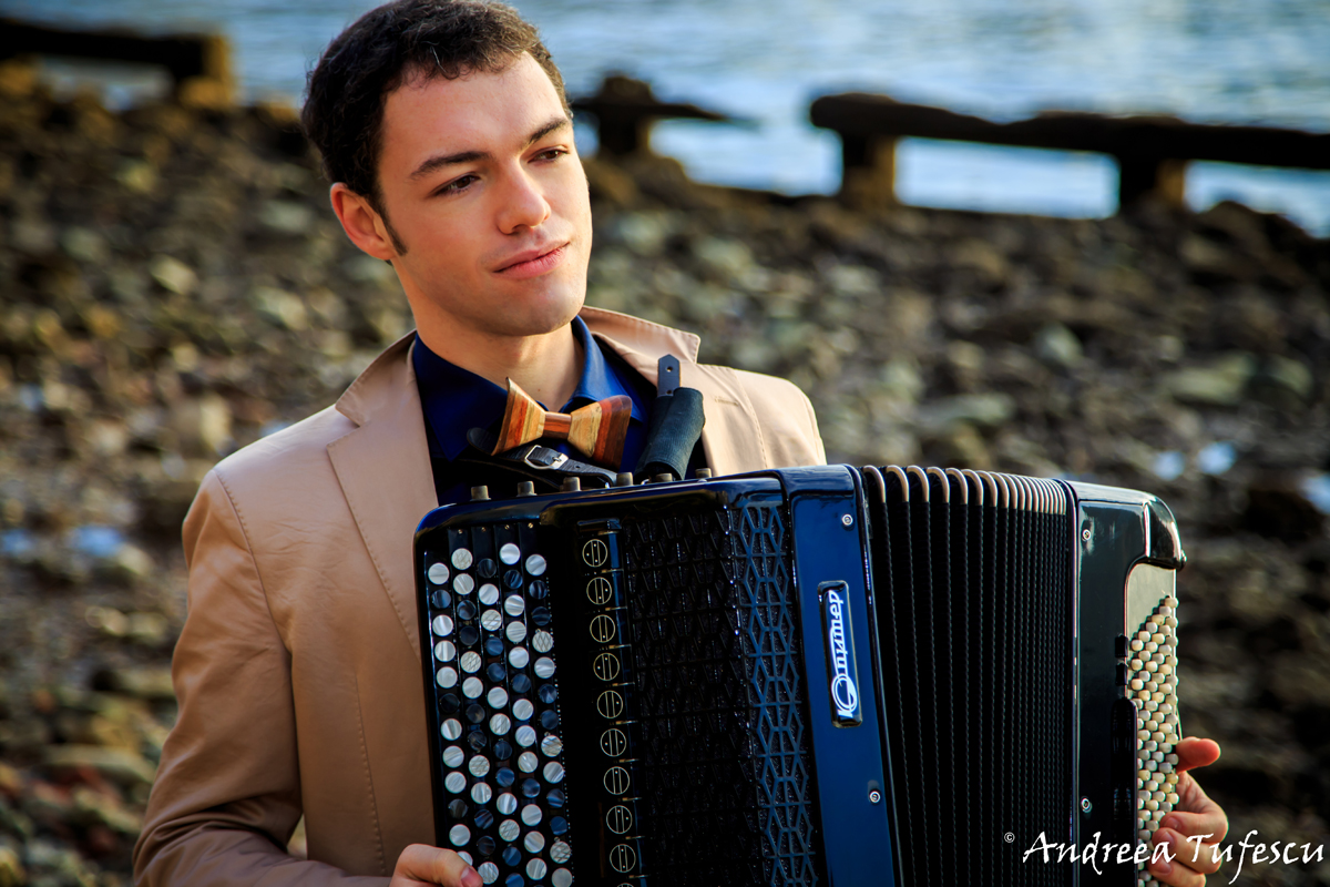 Portrait of accordionist Iosif Purits by  London photographer Andreea Tufescu