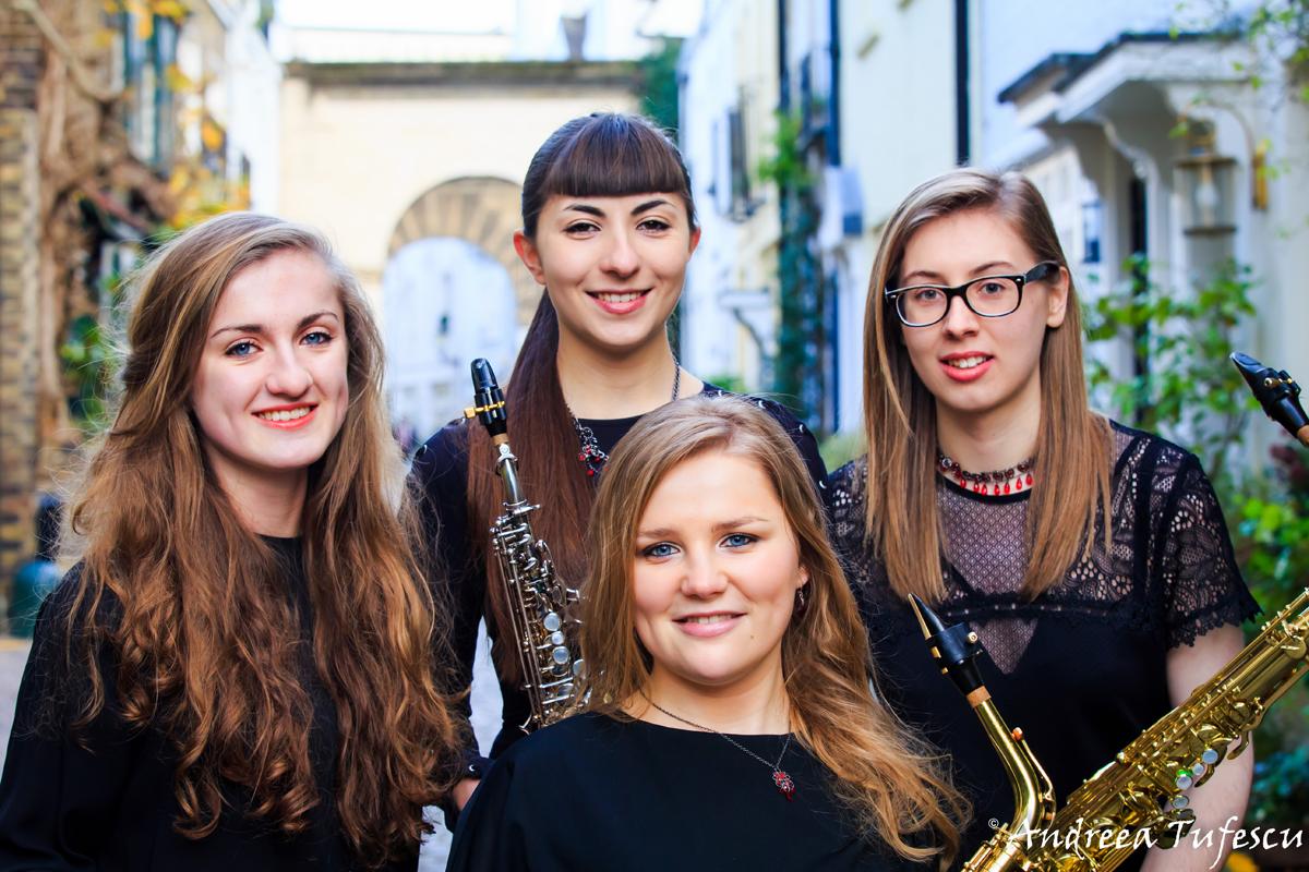 Group Portrait Hestia Saxophone Quartet by London photographer Andreea Tufescu