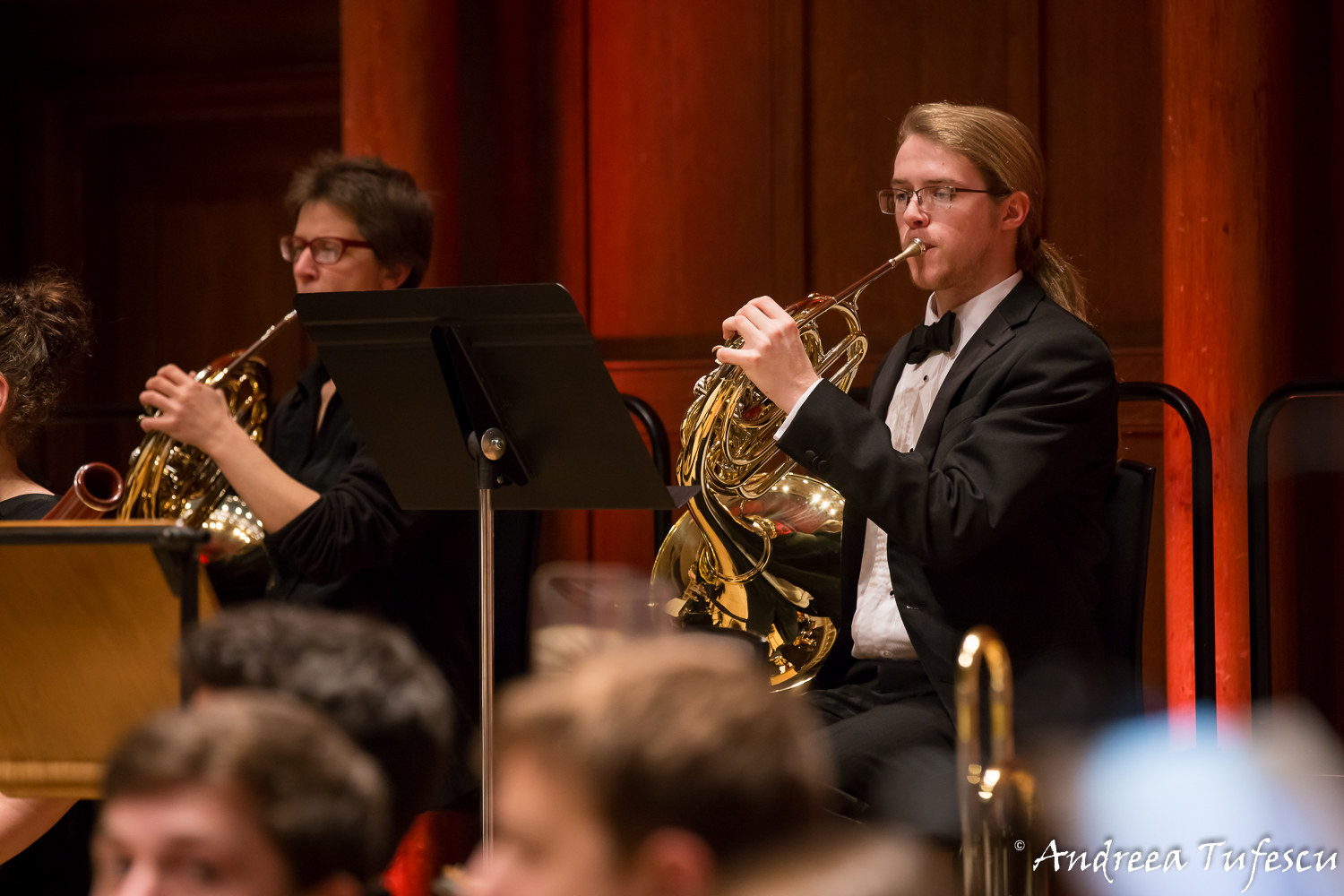 Event photography - French horn players in the orchestra