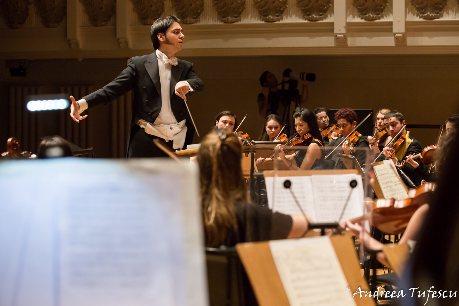 Classical concert photography - conductor Babak Kazemi with Light of Music Orchestra