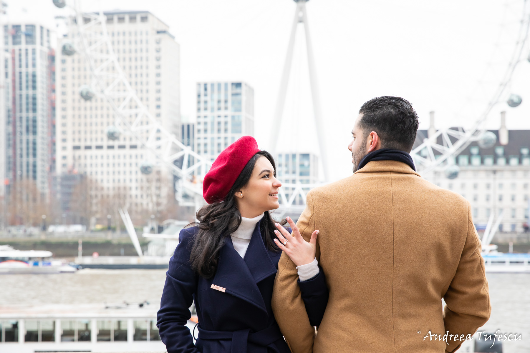 Engagement Photoshoot Central London opposite the London Eye Y & H
