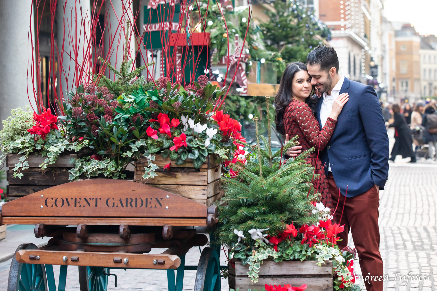 Engagement Photoshoot Central London Covent Garden Christmas Y & H